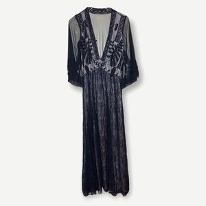 Free People Eclair Embroidered Maxi Dress Black 4